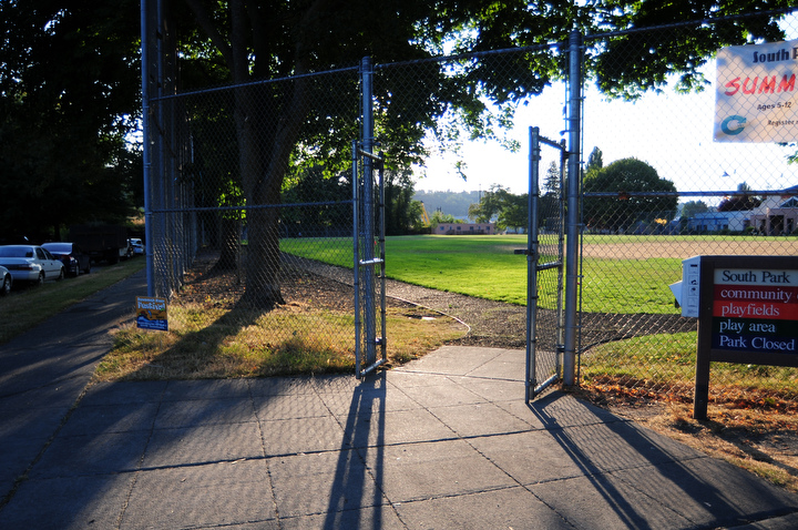 The entrance to the ballfield at South Park Community Center. Photo by Daniel Berman/SeattlePI.com