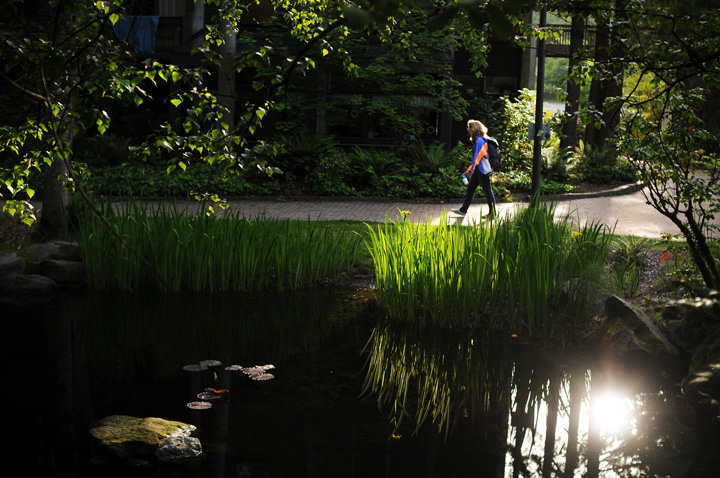 Western freshman Kurina Hoppen walks past the Fairhaven Commons pond Thursday June 3, 2010. Photo by Daniel Berman