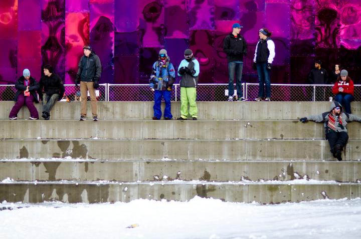 Event participants take in the view of Seattle Snow Day from the steps outside of the Experience Music Project at Seattle Center. Photo by Daniel Berman/www.bermanphotos.com<br /><p class=