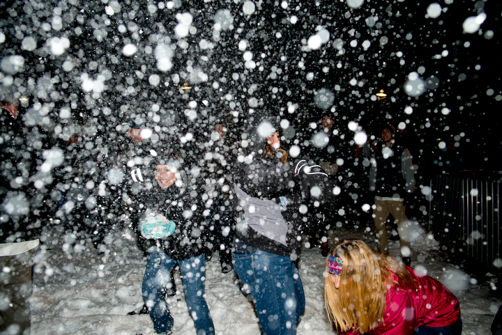 Many people were all smiles as snow hurtled through the air, even if it did hurt as it struck them. Photo by Daniel Berman/www.bermanphotos.com