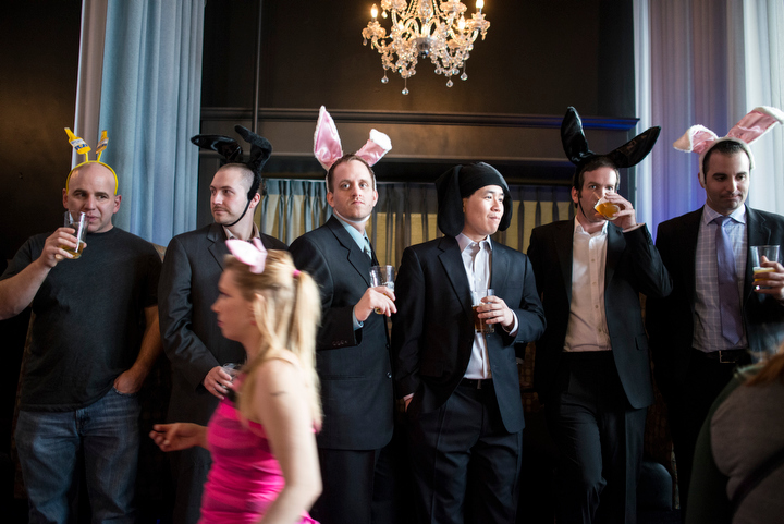 Dozens dressed like bunnies for a cross-town pub crawl during Bunnycon 2013 in Seattle Saturday March 30, 2013, which included a stop at Contour on 1st Avenue.