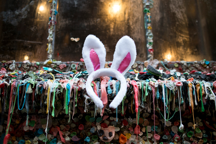 A pair of bunny ears was stuck to the infamous Pike Place Market Gum Wall, as dozens dressed like bunnies for a cross-town pub crawl during Bunnycon 2013 in Seattle Saturday March 30, 2013. Daniel Berman 2013
