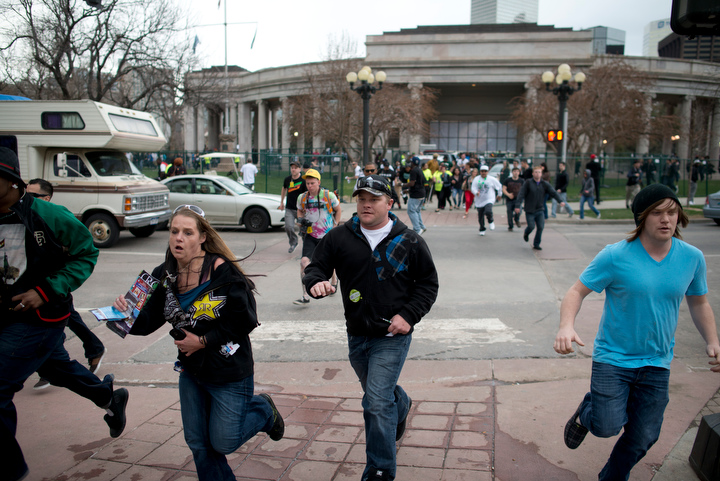 Two were injured in a shooting Saturday April 20 during a marijuana rally at Civic Center Park in Denver. Crowds scattered as five distinct gun shots were heard, and police and SWAT units surrounded the ampitheater area of the park immediately. The annual event attracts tens of thousands of marijuana users to the park for what is billed as one of the largest 4/20 events in the nation.