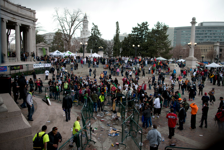 A view of the area of a shooting Saturday April 20 at a marijuana rally at Civic Center Park in Denver. Crowds scattered as five distinct gun shots were heard, and police and SWAT units surrounded the ampitheater area of the park immediately. The annual event attracts tens of thousands of marijuana users to the park for what is billed as one of the largest 4/20 events in the nation.