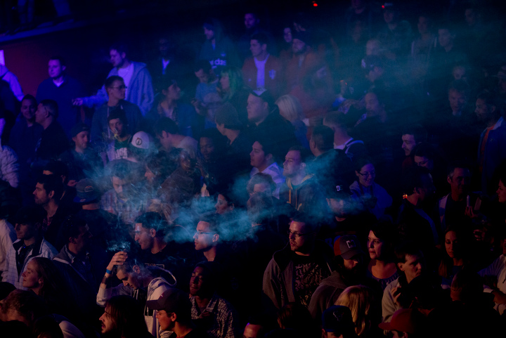 Smoke fills The Fillmore Auditorium as Snoop Lion performs Friday April 19 in Denver to kick off 4/20 weekend celebrations at the High Times Medical Cannabis Cup. High Times gave Snoop Lion a lifetime achievement award during the raucous, smoke-filled evening.