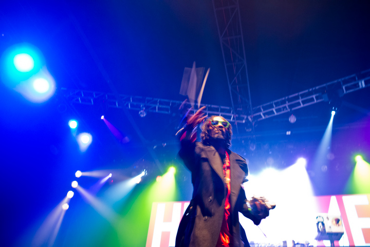 Snoop Lion threw pre-rolled blunts into the crowd.